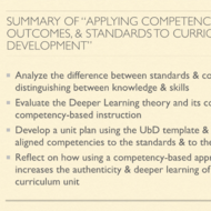 "Summary of ""Applying Competencies, Outcomes, and Standards to Curriculum Development"