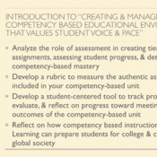 """Introduction to """"Creating and Managing a Competency Based Educational Environment that Values Studen"""