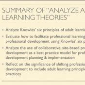 "Summary of ""Analyze Adult Learning Theory"""