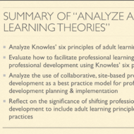 "Summary of ""Analyze Adult Learning Theory"""
