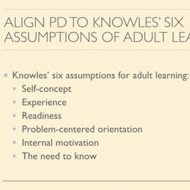 Analyze Professional Development for Alignment to Knowles' Assumption 2: Experience of the Adult Lea