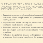 """Summary of """"Apply Adult Learning Theory and Best Practices into Professional Development Planning"""""""