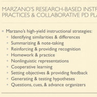 Marzano's Research Based Instructional Practices and Collaborative Professional Development Plans