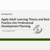 """Introduction to """"Apply adult learning theory and best practices into professional development planni"""