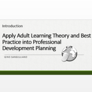 "Introduction to ""Apply adult learning theory and best practices into professional development planni"