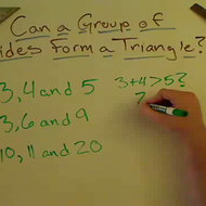 Determining Whether a Group of Sides Can Form a Triangle