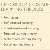 Checking Professional Development for Alignment to Learning Theories