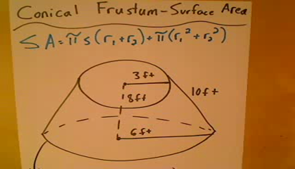 Solving for the Surface Area of a Conical Frustum