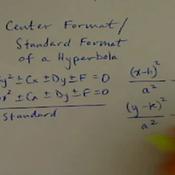 Center Equation Format of a Hyperbola