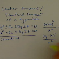 Center Equation Format of a Hyperbola