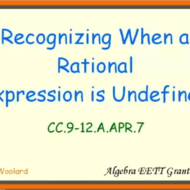 Recognizing When a Rational Expression is Undefined