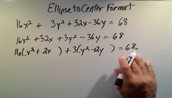 Converting the Equation of an Ellipse to Center Format