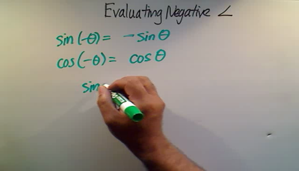 Evaluating a Negative Angle
