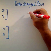 Determinant of Interchanged Rows