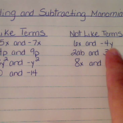 Adding and Subtracting Monomials