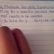 Solving Multiple Variable Equations