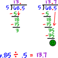Divide Whole Numbers by Decimal Numbers, 5-7, 5th