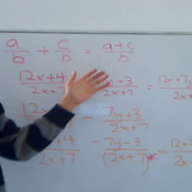 Algebraic Fractions with Like Denominators