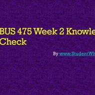 BUS 475 WEEK 2 KNOWLEDGE CHECK ASSIGNMENTS