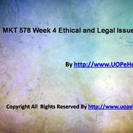 MKT 578 Week 4 Ethical and Legal Issues Paper Questions Answers