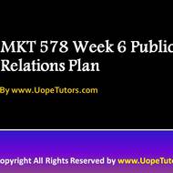 MKT 578 Week 6 Public Relations Plan Questions Answers