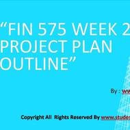 FIN 575 Week 2 Project Plan Outline