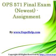 OPS 571 Final Exam (Newest) - Assignment
