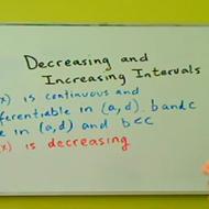 Decreasing and Increasing Intervals