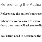 Referencing the Author's Purpose