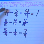 Subtracting Fractions with Like Denominators