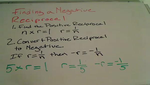 Finding a Negative Reciprocal