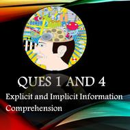 Paper 1  A01 Ques 1 and A04 Ques 4 - Comprehension - Evaluating texts - Contents list below