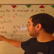 Determining the X Intercept of a Log