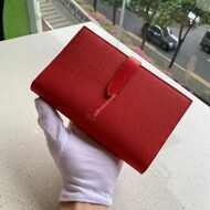 Celine Large Strap Wallet In Grained Calfskin Red