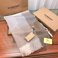 Burberry Cashmere Check Scarf In Apricot