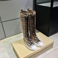 Burberry House Check Canvas Knee-high Boots In Beige