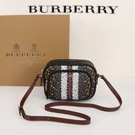 Burberry Monogram Stripe E-canvas Camera Bag In Brown