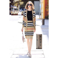 Burberry Stripe Knit Outfit In Camel