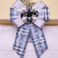 Burberry Check Bow-knot Brooch In Light Blue