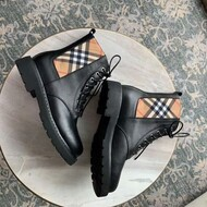 Burberry Vintage Check Detail Leather Boots In Beige
