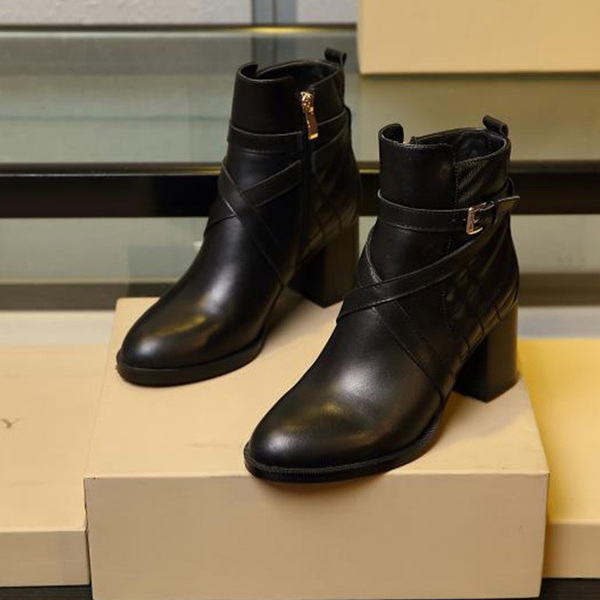 Burberry Leather Ankle Boots In Black