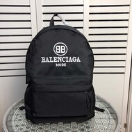 Balenciaga Logo Embroidery Backpack In Black