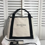 Balenciaga Navy Medium Cabas Canvas And Calfskin In Beige