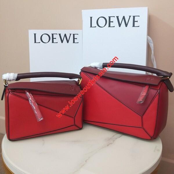 Loewe Puzzle Patchwork Bag Calfskin Red