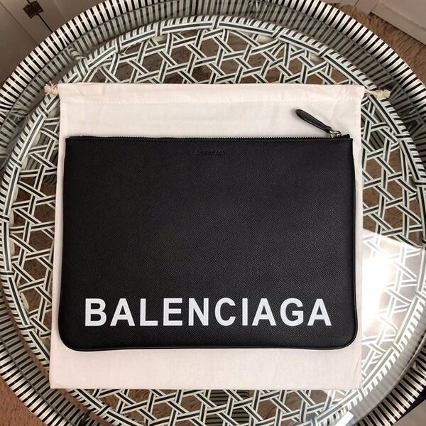 Balenciaga Large Pouch Calfskin In Black