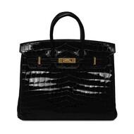 Hermes Birkin Bag Alligator Leather Gold Hardware In Black