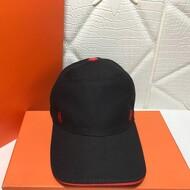 Hermes H Canvas Baseball Cap In Black/Red