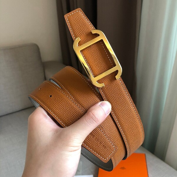 Hermes Society 32 Reversible Belt Togo Leather In Brown/Grey