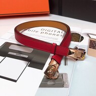 Hermes Collier De Chien 18 Belt Espom Leather In Red