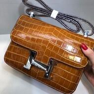 Hermes Constance Bag Alligator Leather Palladium Hardware In Brown